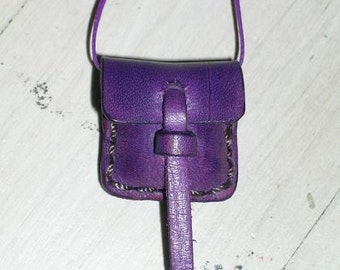 Small Leather Locket Pouch Bag Purple