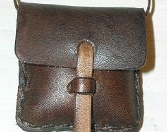 Large Leather Locket Pouch Bag Java Brown