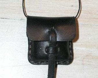 Medium Leather Locket Pouch Bag Dark Cocoa