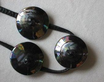 Belt of Black Raku Ceramic & Leather, Concho Style