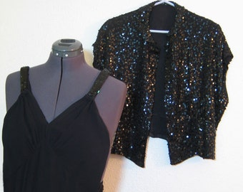 Formal Black Silk Crepe with Fitted Sequin Jacket