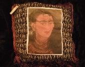 Frida Kahlo Diego Rivera Fan Pillow Shabby Chic Wabi Sabi