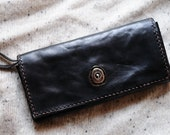 Artemis Leatherware Hand Stitched Washed-out Black Leather Long Wallet