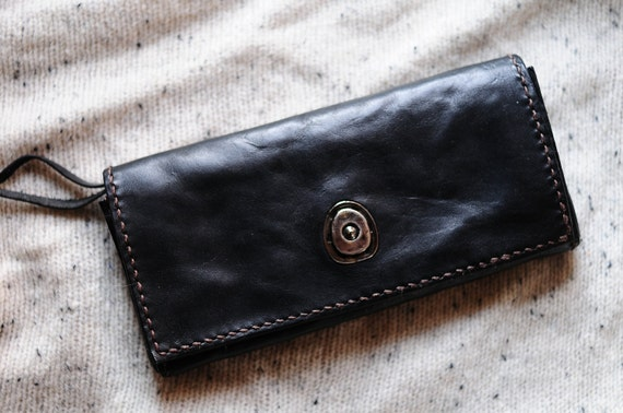Artemis Leatherware Hand Stitched Washed-out Leather Long Wallet