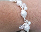 Wire Wrapped Pearls and Swarovski Crystals Bracelet