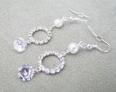 Clear Cubic Zirconia and  Rhinestone Swarovski Pearl Circle Drop Earrings