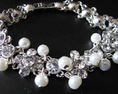 Vintage Inspired Rhinestone studded link Bracelet With White Swarovski  Pearls Great Wedding Jewelry