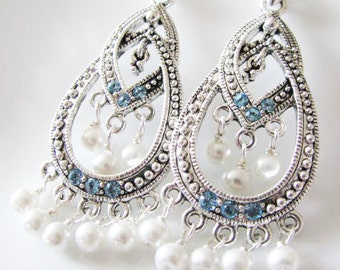 Sterling SIlver Swarovski Crystals and Swarovski Pearl Earrings Something Blue