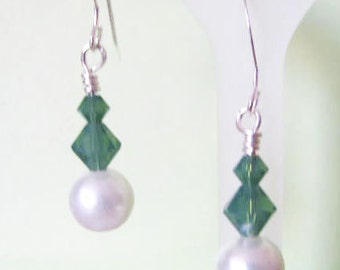 green Crystal White Swarovski Pearl Earrings in Sterling Silver