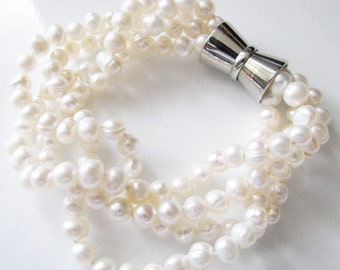6mm Fresh Water Pearl 4 Strand Bracelet