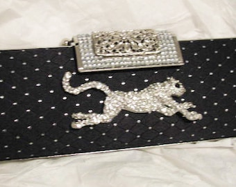 Black and Silver Bridal Wedding Accessorie Bag Clutch Formal Wear with Leopard  Rhinestone Brooch