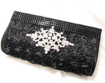 Black Fabric Wedding Bag Clutch Formal Wear with Crystal Centerpiece