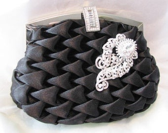 Black Satin Fabric Wedding Bag Clutch Formal Wear  with removable Brooch OR Pendant