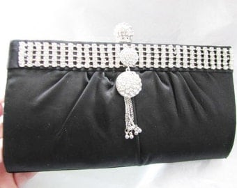 SALE Black Fabric Bridal Wedding Bag Clutch Formal Wear Austrian Crystal Accents