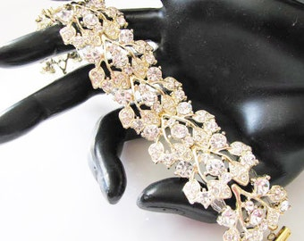 Clear  Crystals Gold Tone  Bracelet Rhinestone Bridal Wedding Jewelry