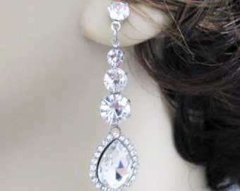 Silver toned Rhinestone Earring Drops Bridal Wedding Jewelry or Bridesmaids Gift Pageant Jewelry