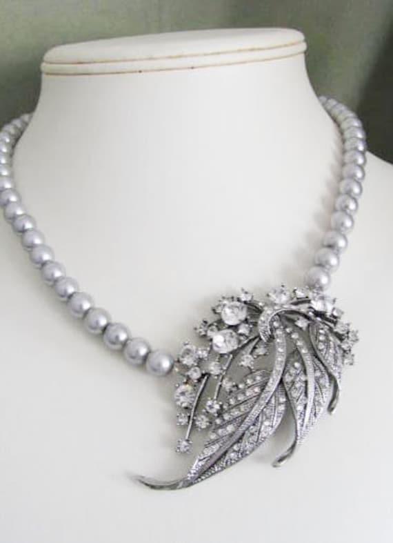 Wedding Brooch, Wedding Jewelry, Second Wedding, Mother of the Bride, Silver, Pearl, Crystal, Rhinestones