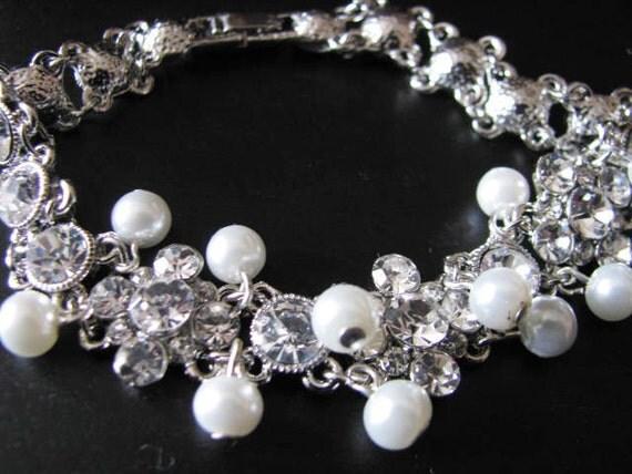 Vintage Inspired Rhinestone studded link Bracelet With White Swarovski  Pearls Great Wedding Jewelry