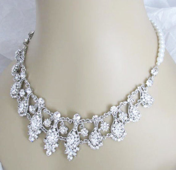 Vintage Inspired Wedding Necklace and Earring Set in Antique silver tone and White Swarovski Pearls Great Bridal Wedding Jewelry