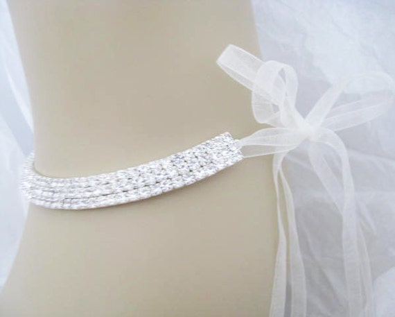 wedding jewelry Rhinestone studded collar With Cream Ribbon necklace