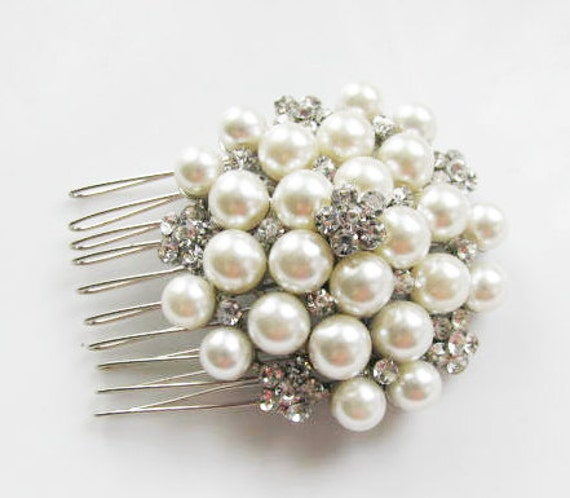 faux Cream Ivory  Pearl and  Rhinestone Bridal  Hair Comb Accessory