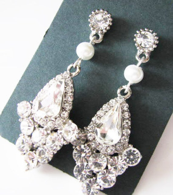 bridal earrings, chandelier earrings, swarovski earrings, teardrop earrings,  bridesmaid earrings, crystal bridal
