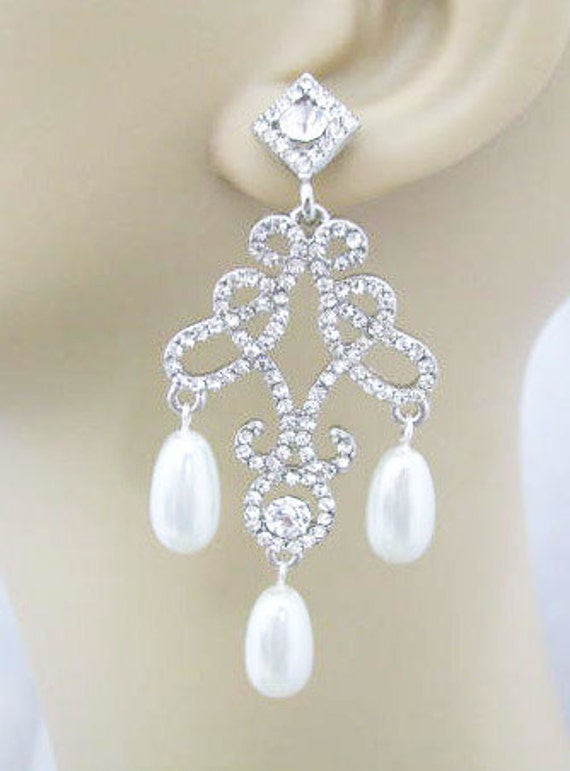Antique Silver toned Rhinestone  Swarovski White  Pearl Earring Drops Bridal Wedding Jewelry or Bridesmaids gifts