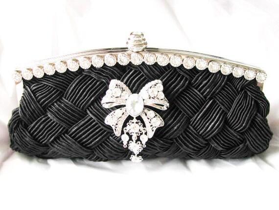 Black Bridal Wedding Bag Clutch Formal Wear With Large