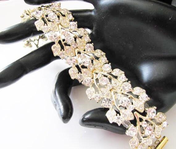 Clear  Crystals Gold Tone  Bracelet Rhinestone Bridal Wedding Jewelry
