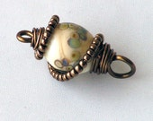 Glass Pendant--wire wrapped---bronze