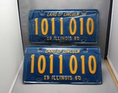 Very Unique & Unusual 1011010 ILLINOIS License Plates - 1960 Orange and Blue