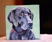 "Pet Portrait 6""x6"" Custom  Dog Painting from Photo"