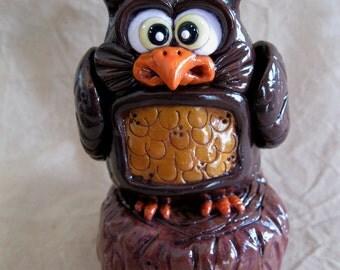 Owl Stump Polymer Clay Sculpture