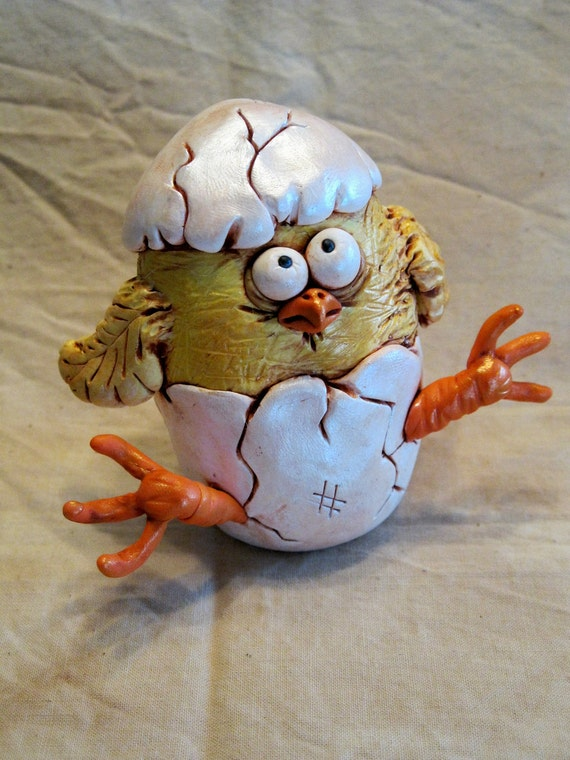 Easter Chick Polymer Clay Sculpture
