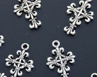 Antique Silver Metal Cross Charm Pendant  13mm x 22mm with loop destash collection SALE USA
