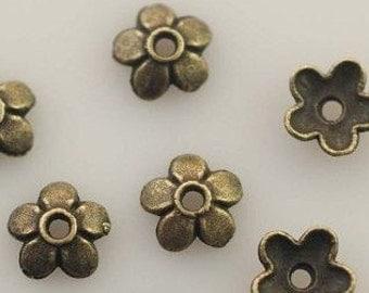 USA 10 PIeces Antique Brass Bronze Flower Bead Caps 6.5mm