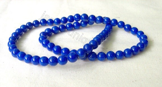 25 Pieces Royal Blue Mountain Jade Round Beads 4mm