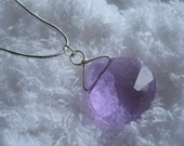 Light Purple Silver Wrapped Necklace and Earrings