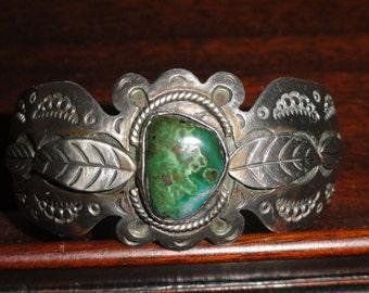 Malachite Eilat Sterling Silver Cuff Bracelet Mexican Vintage