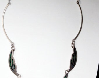 Taxco Malachite Sterling Silver Necklace Vintage