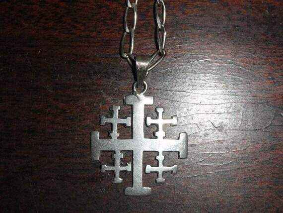 Jerusalem Cross Pendant  Necklace Sterling Silver