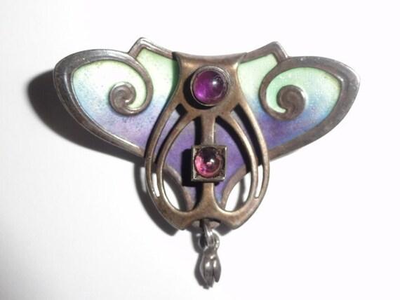 Jugendstil Art Nouveau Enamel Amethyst Brooch 900 Depose 1895-1914 Rare