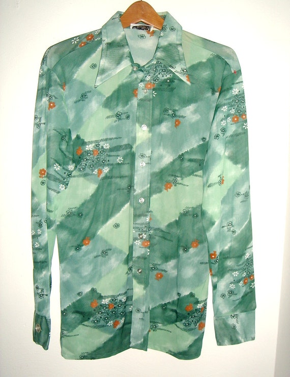 Reserve for cisa72 Vintage 70s Haband Paterson N.J Mens Floral Print Nylon Disco Shirt Size L