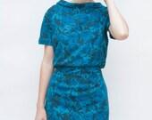 Vintage 1950s Dress - Bluest Rose - Blue Rose Wool Boatneck Day Dress