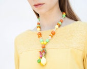 Vintage 1960s Necklace - Chiquita Banana - Hard Plastic Fruit Cup Necklace