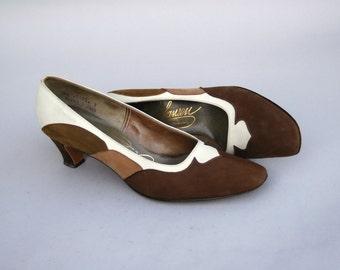 Vintage 1960s Shoes - Caffe Latte - Tri-Tone Brown Suede Shoes