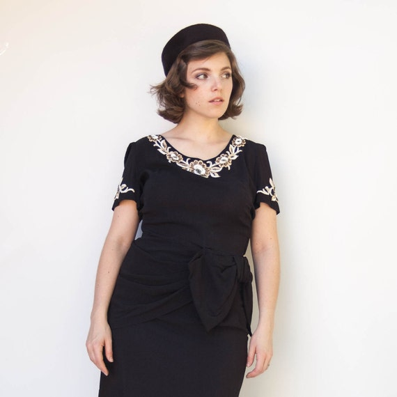 Vintage 1950s Dress - Black Tie - Black Beaded Rayon Crepe Cocktail Dress with Hip Bow
