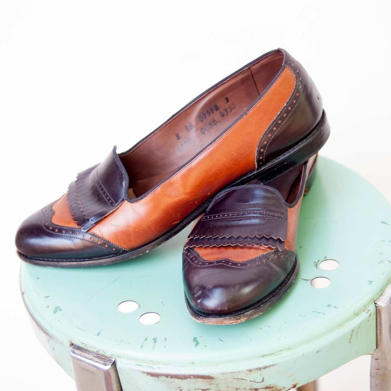 vintage 1980s shoes prep school brown and black wingtip
