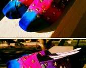 galaxy/ space print hand painted and studded  toms