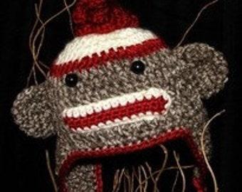 Sock Monkey Earflap Hat for Infant-toddler